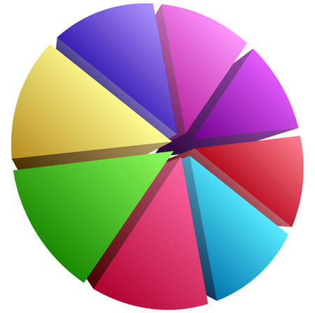 simple pie chart-graph and diagram vector illustration. circle segmented, divided from 2 to 20 section, segment, portion or sector for biz analytics, presentation, infographics or visualization themes Vektoros illusztráció