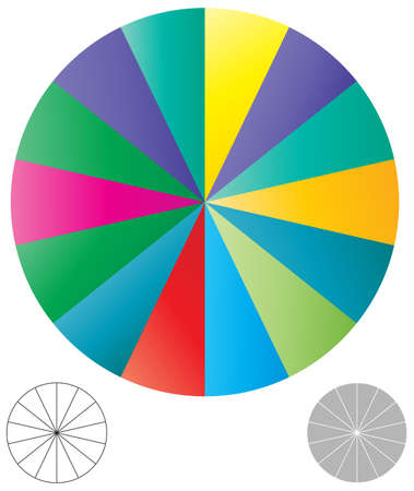 simple pie chart-graph and diagram vector illustration. circle segmented, divided from 2 to 20 section, segment, portion or sector for biz analytics, presentation, infographics or visualization themes