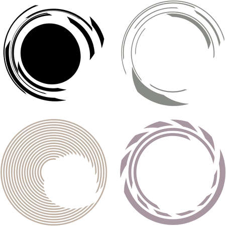 Cyber-cyberpunk, sci-fi geometric circles, rings. Hi-tech HUD elements. Concentric, radial revolving circles for techno, technology themes. Circular, round design elements