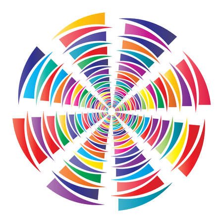 Circular spiral, swirl, twirl circle vector illustration. Radial, concentric colorful abstract vector design