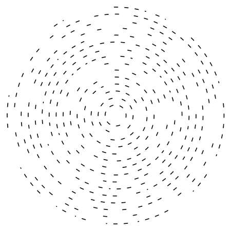 Abstract circular, radial design element. Geometric radiating dashed lines. Burst, starburst, sunburst and twister, curlicue and whirlwind clip-art