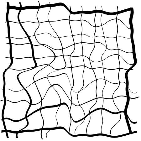 Grid and Mesh with abstract distorted, squiggle, criss-cross waving lines, Vector illustration