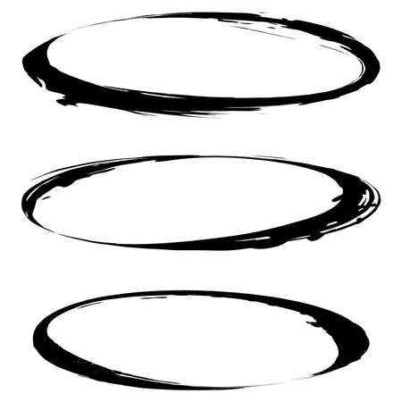 Oval, ellipse grungy frame, border. Grunge stamp. Textured ellipses. Vector illustration Vettoriali