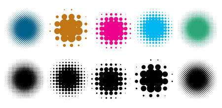 Colorful halftone vector pattern, texture design element set. Circles, dots, screentone illustration. Freckle, stipple-stippling, speckles illustration. Pointillist vector art