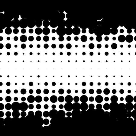 Halftone random circles, random dots illustration. Specks, stipple, speckles, stippling background and pattern. Pointillist, pointillism design. Irregular abstract random asymmetric, asymmetry horizontal vector
