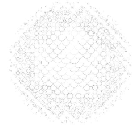 Outline, overlap-intersect rings halftone (half-tone) element. Dots, circles, speckles and freckles vector illustration. Stipple-stippling contour design