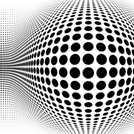 Spherical distortion halftone dots element. Orb, ball deform on bulge, bump speckles, polka-dots and screentone.Pointillist, pointillism abstract geometric circle element, pattern.Curve, camber FX