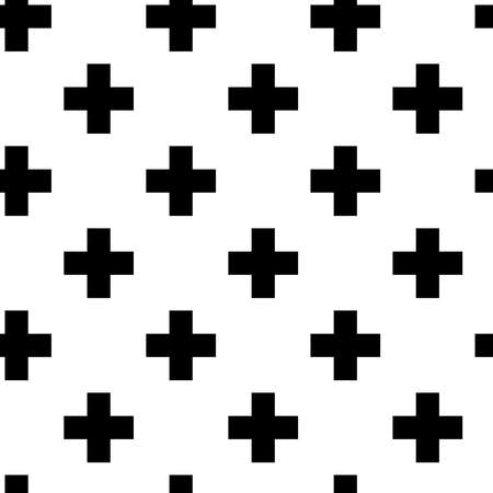 Cross, plus sign, symbol, mark repeatable background, pattern. Geometric seamless backdrop. Vector illustration Vecteurs