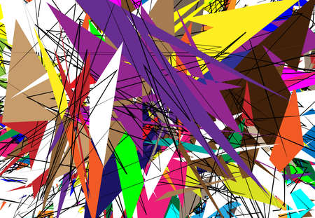 Random Chaotic Contemporary art work vector illustration. Random lines, shapes. Colorful, multicolor, variegated version