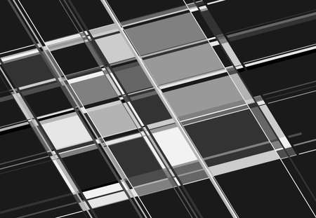Tessallation, mosaic abstract grayscale, black and white and geometric background. Random rectangle, square tiles angular pattern and texture