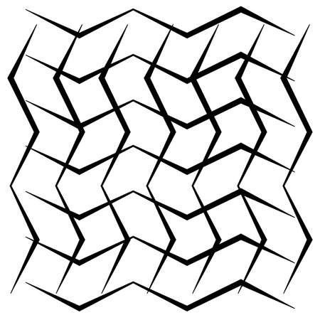 Grid, mesh of wavy, zig-zag lines. Cress cross pattern - Stock vector illustration, Graphics clip art