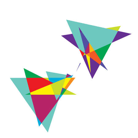 Vivid, vibrant abstract geometric, angular, edgy art. Random Picasso-style geometry vector. Spiky tapered chaotic artistic vector illustration