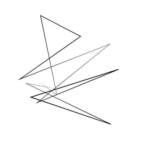 Abstract edgy, geometric line art. Angular random, chaotic lines. Spiky. tapered chaotic art. Irregular artistic element Vector Illustration
