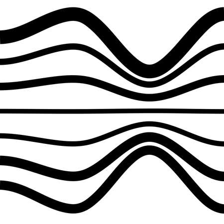 Waving, folded, curved lines. Abstract stripes with billow, undulate, sway effect distortion, and deformation - Stock vector illustration, Graphics clip art Vektorgrafik