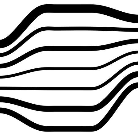 Waving, folded, curved lines. Abstract stripes with billow, undulate, sway effect distortion, and deformation - Stock vector illustration, Graphics clip art