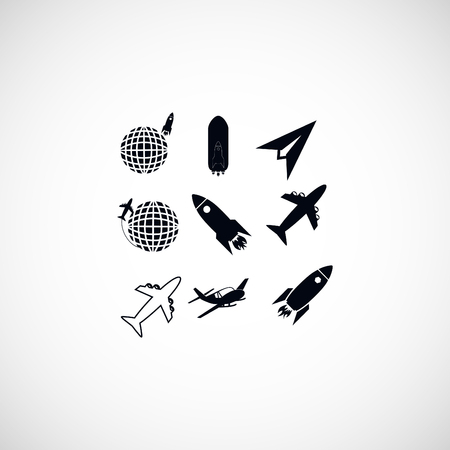space antenna: Earth and rockets icon, flat design best vector icon