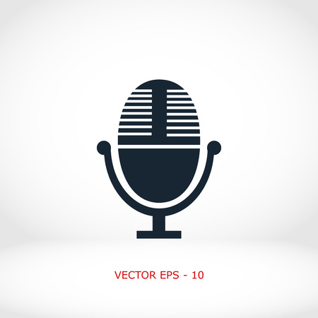 Vector microphone icon, flat design best vector icon Illustration