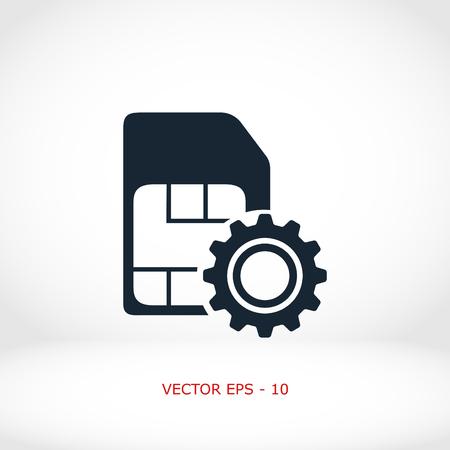 global settings: SIM card setting simple icon, flat design best vector icon