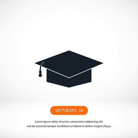 final college: Graduation cap bleck icon, flat design best vector icon