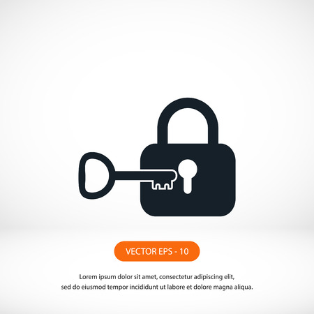 key lock: Lock and key vector icon, flat design best vector icon