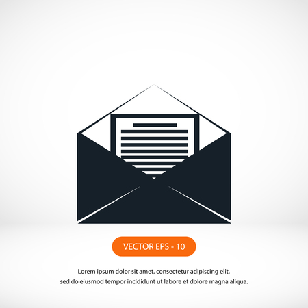sigh: Mail sign icon, flat design best vector icon