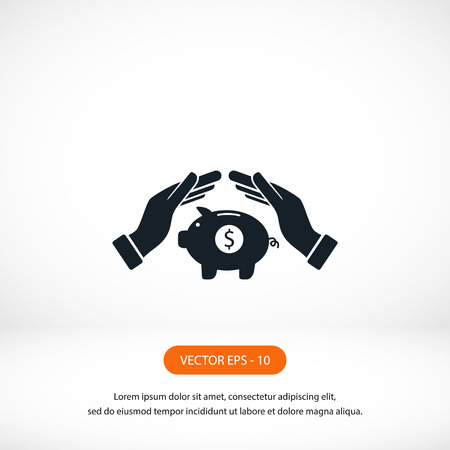 economizing: Vector icon saving, piggy bank, flat design best vector icon