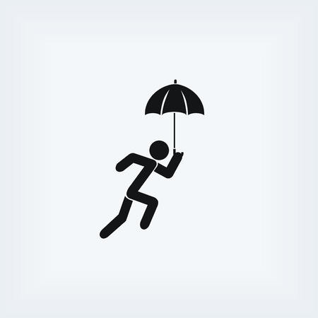 work clothes: A person with an umbrella icon, flat design best vector icon Illustration