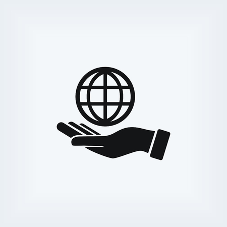hand hold: hand hold globe - vector icon, flat design best vector icon
