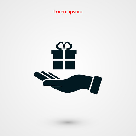 deliver: Hand and gifts icon, flat design best vector icon