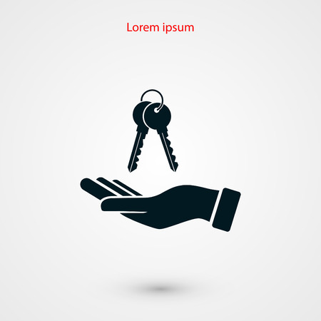 hand with keys icon, flat design best vector icon 向量圖像