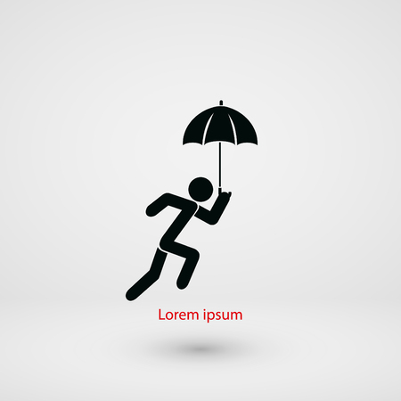 walk away: A person with an umbrella icon, flat design best vector icon Illustration