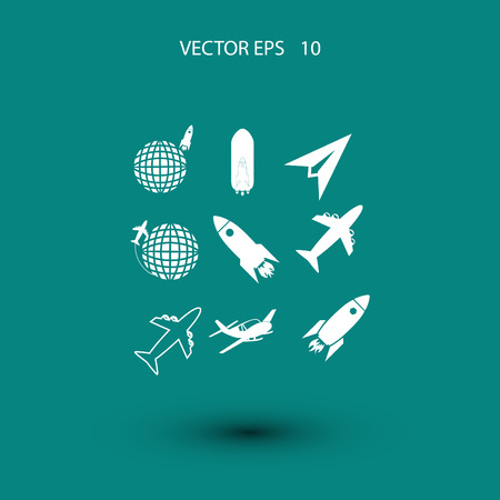astronomer: Earth and rockets icon, flat design best vector icon