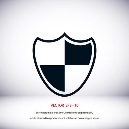 firewall: Shield sign icon, flat design best vector icon