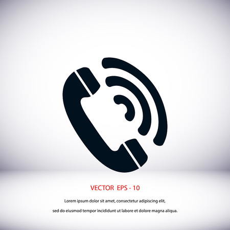 telephone receiver: Telephone receiver vector icon, flat design best vector icon
