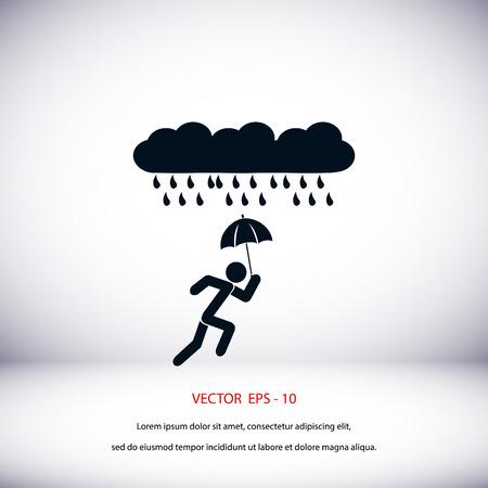 Alone In The Rain icon, flat design best vector icon