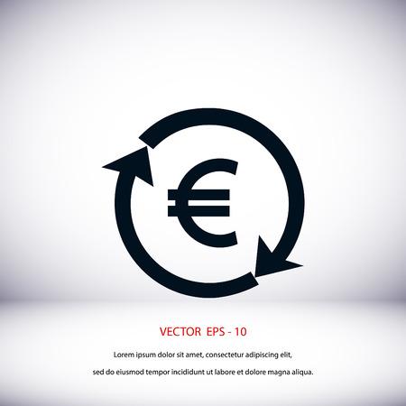 stylized banking: money convert icon, flat design best vector icon