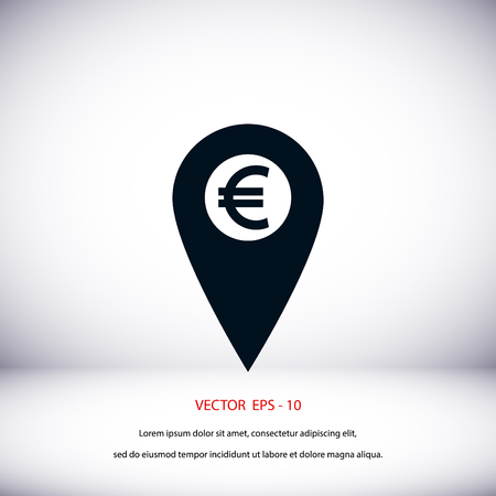 Marker location icon Euro sign, flat design best vector icon