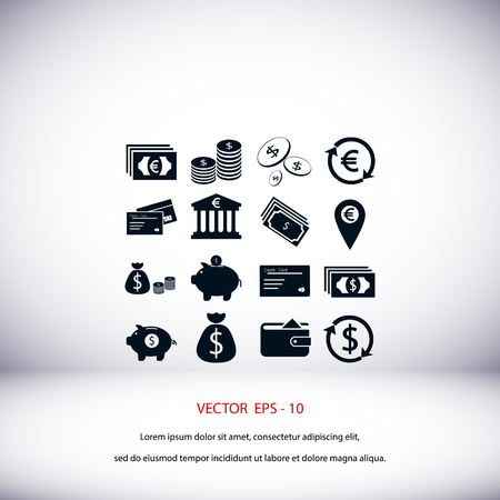 Finance Icons vector, flat design best vector icon Illustration