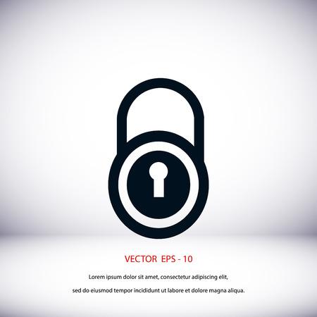 lock vector icon, flat design best vector icon Illustration