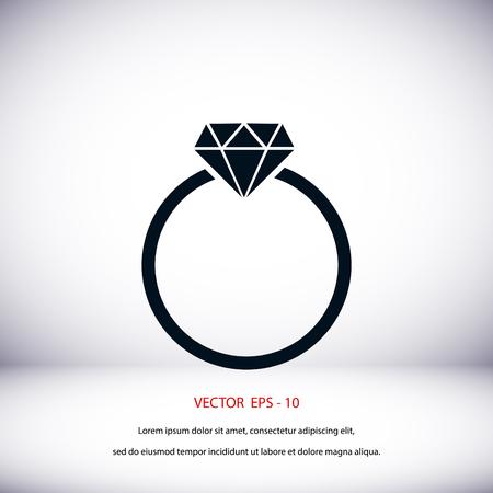 bijouterie: ring icon vector, flat design best vector icon