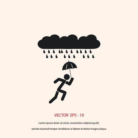 sexy umbrella: Alone In The Rain icon, flat design best vector icon
