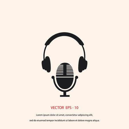 earphone: earphone and microphone icon, flat design best vector icon