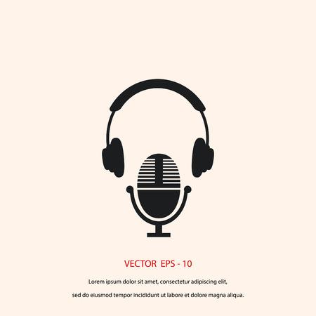 earphone: earphone and microphone icon, flat design best vector icon