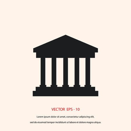bank building icon, flat design best vector icon
