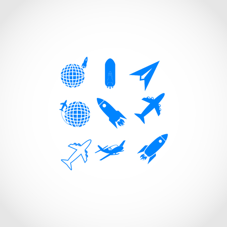 flat earth: Earth and rockets icon, flat design best vector icon