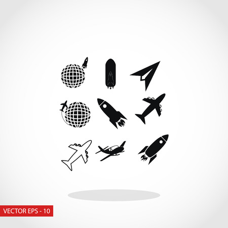 space station: Earth and rockets icon, flat design best vector icon