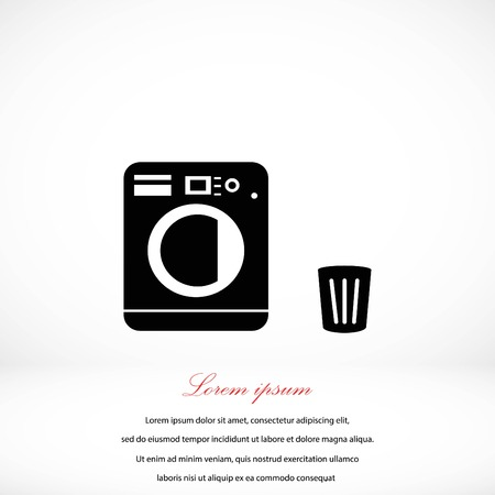 clothes washer: Laundry icons vector, flat design best vector icon Illustration