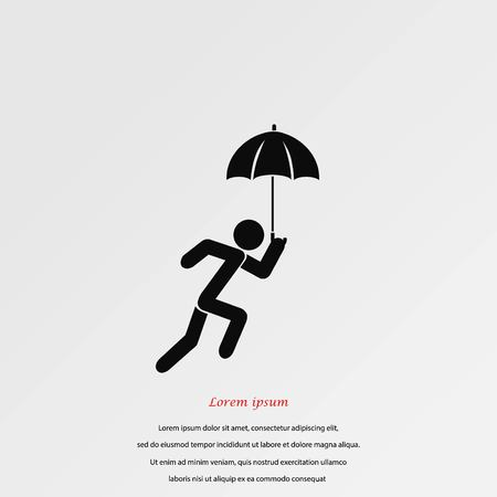 A person with an umbrella icon, flat design best vector icon Illustration