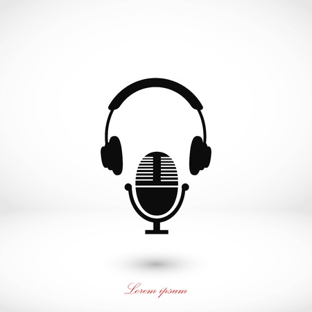 Earphone and microphone icon, flat design best vector icon