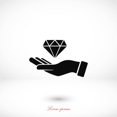 diamond shape: Hand and diamand icon, flat design best vector icon